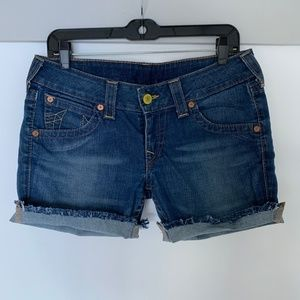 True Religion cuffed jean shorts 30